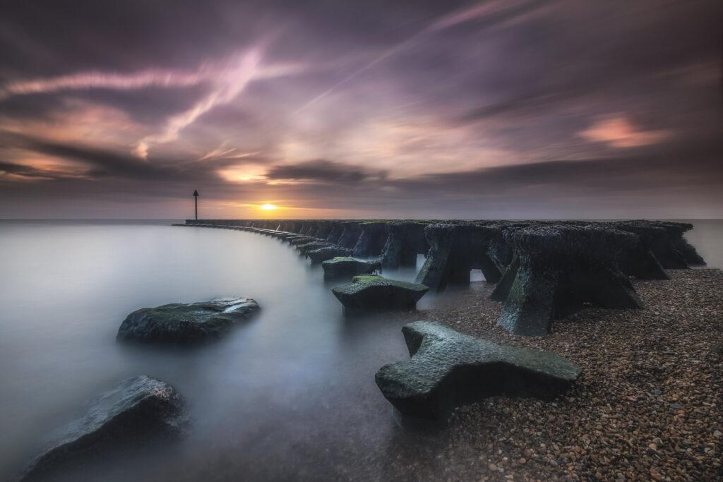 felixstowe landcape photography workshops gryones in suffolk at sunrise