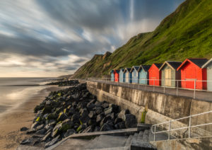long exposure of the The colourfull beach huts at Sheringham beach