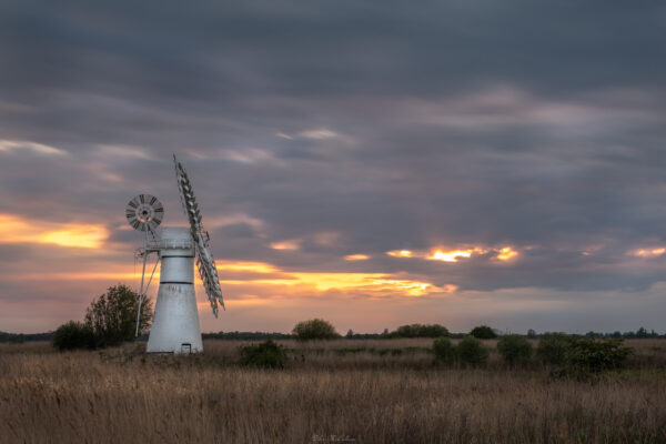 Thurne mill in norfolk at Sunset